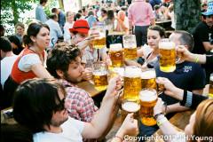 Revelers drinking beer at Oktoberfest