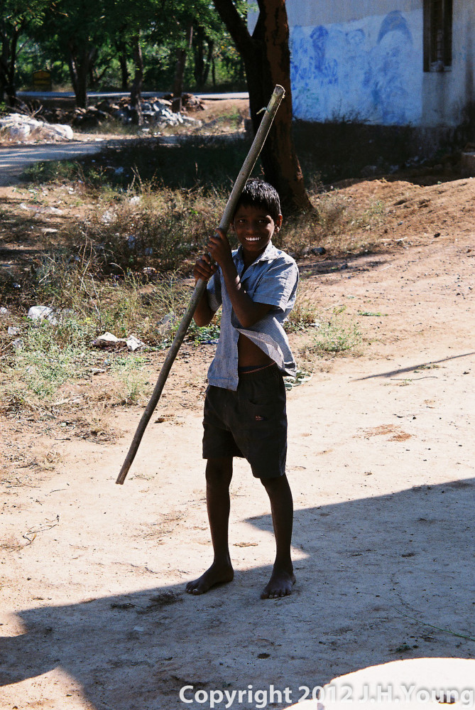 Child playing in rural village in centeral India