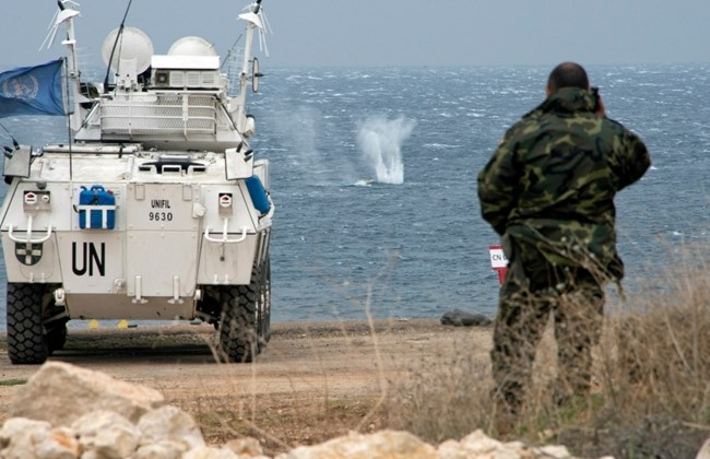 "Caption: Gone fishing ... UNIFIL and Lebanese Army take part in ""Steel Storm,"" a live fire exercise against targets out to sea, south of Naqoura (Photo cutesy of UNIFIL)"