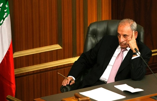 Parliament Speaker Nabih Berri listens to speeches during a session at the parliament in Beirut, Thursday, April 19, 2012. (The Daily Star/Mohammad Azakir)